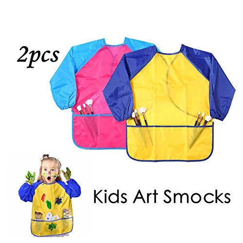 Leegoal (TM) pour enfant Art blouses Lot de 2, enfants Peinture tabliers, étanche Artist blouses Tablier Peinture à manches longues avec 3poches Spacieux pour Age 2–8ans