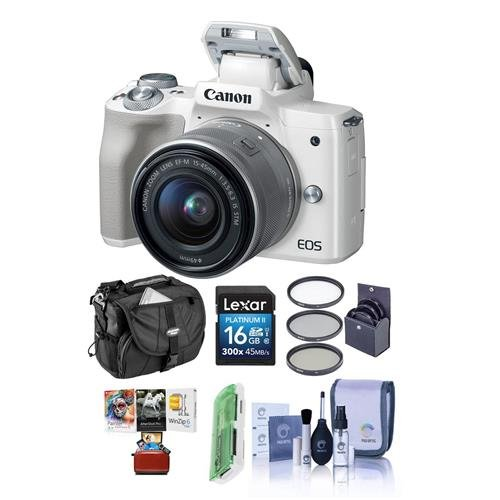 Canon EOS M50 Mirrorless Camera with EF-M 15-45mm f/3.5-6.3 is STM Lens, White - Bundle with 16GB SDHC Card, Camera Case, 49mm Filter Kit, Cleaning Kit, Card Reader, Mac Software Package