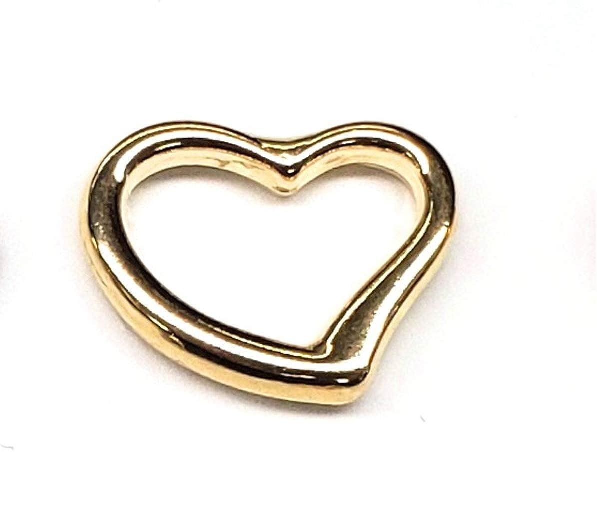 YHILLEL 14K Solid Gold Medium Open Heart Pendant Charm