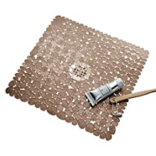 "iDesign Pebblz Plastic Suction Non-Slip Bath Mat for Shower, Bathtub, Stall, 22"" x 22"", Amber Brown"