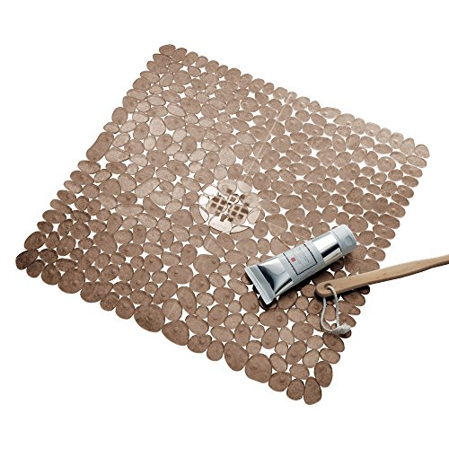 on-Slip Suction Bath Mat – Square Mat for Shower or Tub, Amber ()