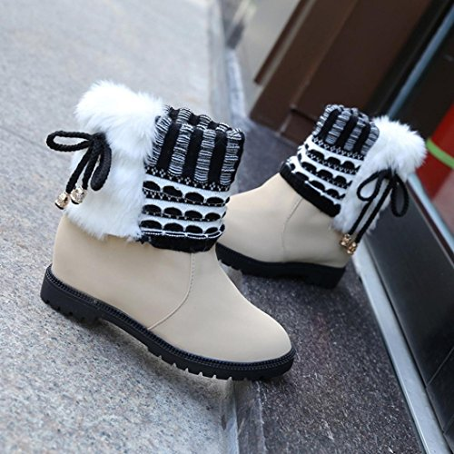 KaiCran Womens Boots Plush Winter Boots for ladies Warm Ankle Boots fashion Snow Martin Boots Beige V0q2hB
