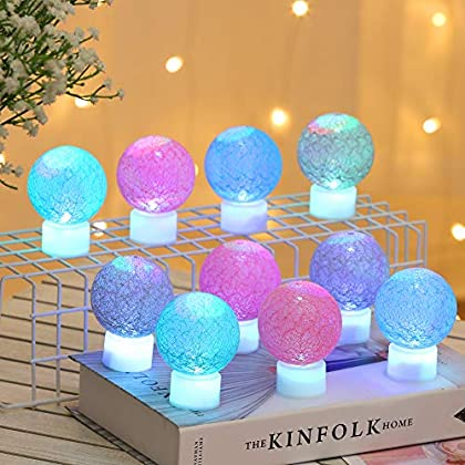 Christmas Globe Lights, 10 PCS LED Cotton Thread Wathet Ball Light, Decoration Candlelight Lamp Battery operated, Fairy Lantern for Indoor Outdoor, Wedding, Marriage Proposal Party, Twinkle Multicolor