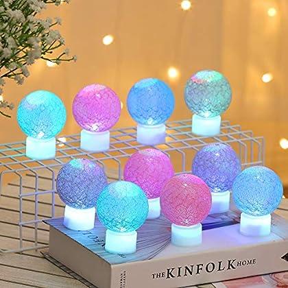 Christmas Globe Lights, 10 PCS LED Cotton Thread Wathet Ball Light, Decoration Candlelight Lamp Battery operated, Fairy…