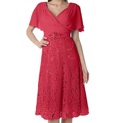 Abendkleider Brautmutterkleider Knielang Festlichkleider Ausschnitt Charmant Kurzarm V Spitze Partykleider Damen Rot Xx0XwSqna