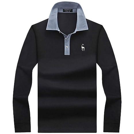 NISHIPANGZI Garder Chaud Nouvelle Polo Fashion Homme cintrée de Couleur Solide Polo Manches Longues Hommes Occasionnels Shirt Polos de Coton mercerisé Badminton Fantaisie et Specialty