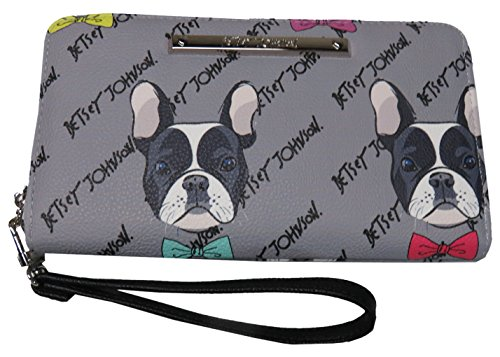- Betsey Johnson French Bulldog Dog Zia Wristlet/Wallet, Multi Compartment Wallet, Grey/Multi