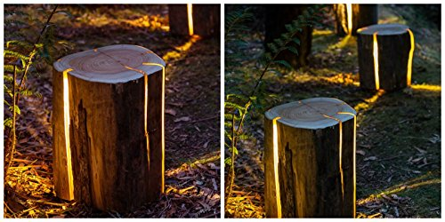 Tree Trunk Light with A Cracked Log with LED illumination Natural effect Unique Design Fiberglass HAND MADE Outdoor Indoor UV Patio Decor garden Waterproof decorations Lighting Stump Table (Garden Magic Table Lamp)