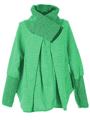 Quirky Cocoon Poncho Femmes Oversize Cape Manches Veste Layer Manteau Zip Longues Italienne Laine GG Vert Mesdames Lagenlook Svqxw5IO