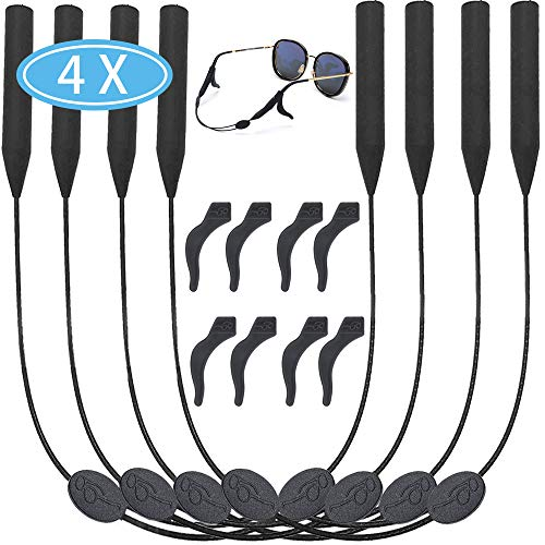 4 Packs Glasses Straps Adjustable Eyewear Glasses Retainers Sports Waterproof 8 Anti-Slip Hooks No Tail for Kids/Adults 14 inches
