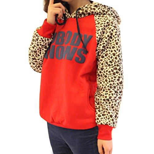 Egelbel Girls Women Casual Letter Printed Leopard Hoodie Coat