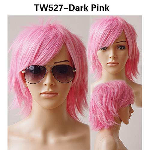 30Cm Cosplay Short Wig Synthetic Black Brown Pink Brown Halloween Costume Party Dress Wigs For Women Men Pink 12inches -