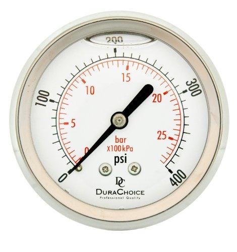 "2-1/2"" All Stainless Steel Oil Filled Pressure Gauge - 1/4"" NPT Center Back 400PSI"