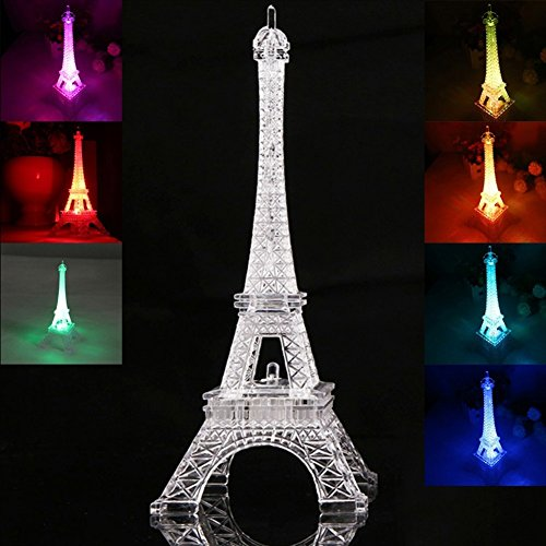 Mercu LED Light Up Eiffel Tower, Built-in Color Changing Night Light, Battery Included Desk Lamp Centerpiece Cake Topper Decoration Gift (25CM)