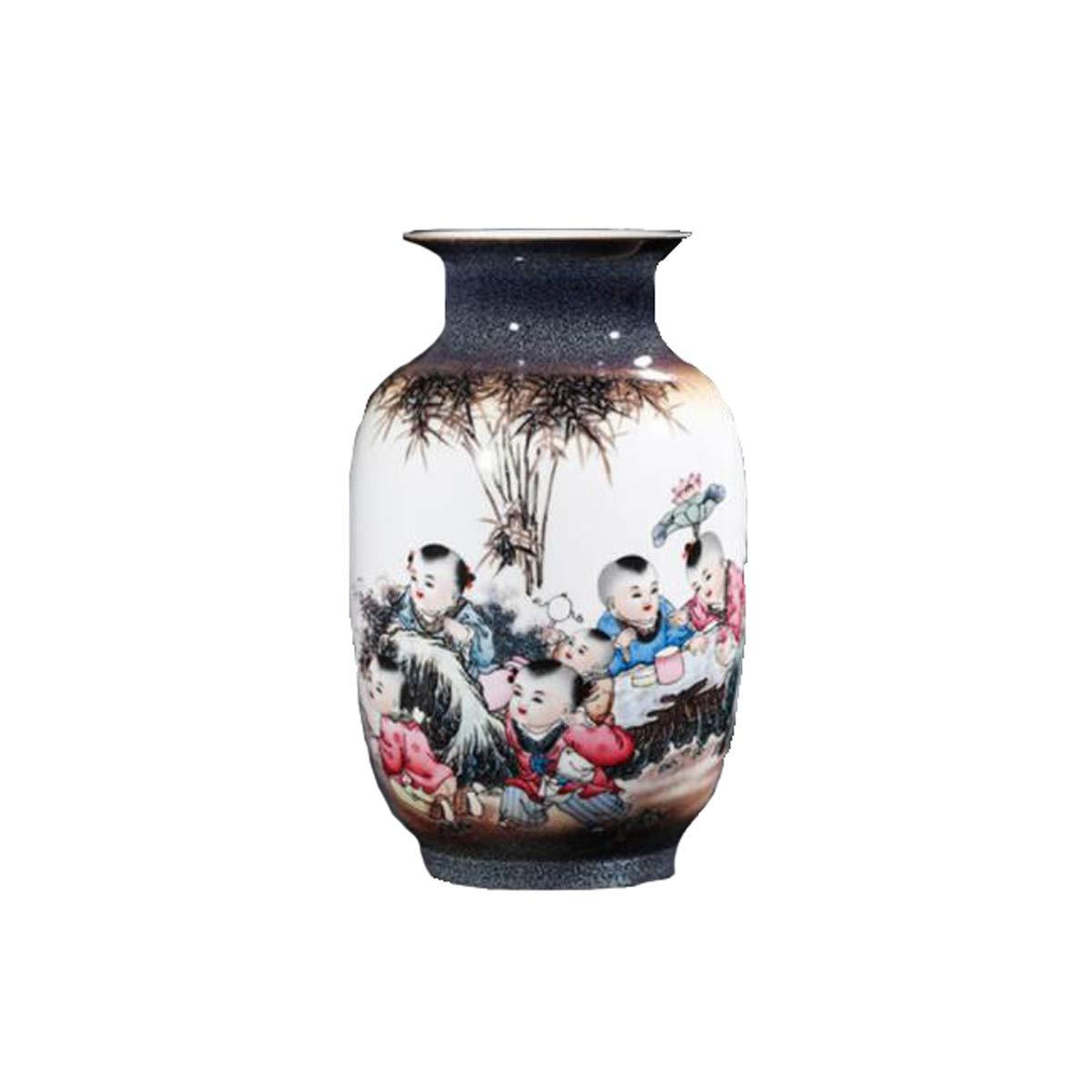 SHENGSHIHUIZHONG 花瓶の装飾、景徳鎮セラミックス、クリエイティブキルン色インクボーイ花瓶、フラワーインサート、中国の家の装飾工芸品装飾的な装飾品、男の子、通常の包装とギフトボックスセット2つのスタイル 中華風 (Edition : B) B07SWZR7RN  B