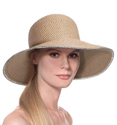 Eric Javits Luxury Fashion Designer Women's Headwear Hat - Hampton - Peanut Silver by Eric Javits