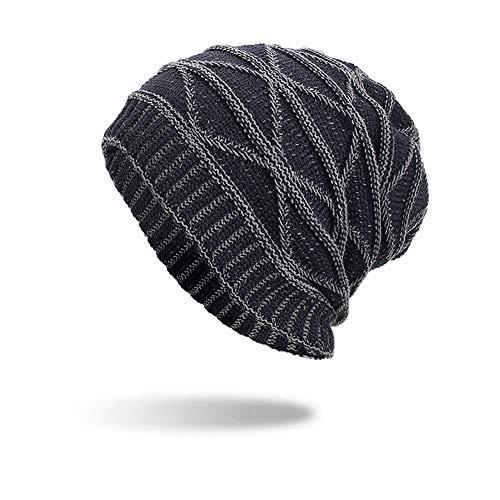 iYBUIA Women Men Warm Baggy Weave Crochet Winter Wool Knit Ski Beanie Skull Caps Hat(Navy,One Size) -