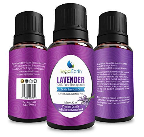Lavender Essential Oil Regal Earth - 100% Pure & Best for Health, Aromatherapy, Massage, Relaxation - From France, 30ml