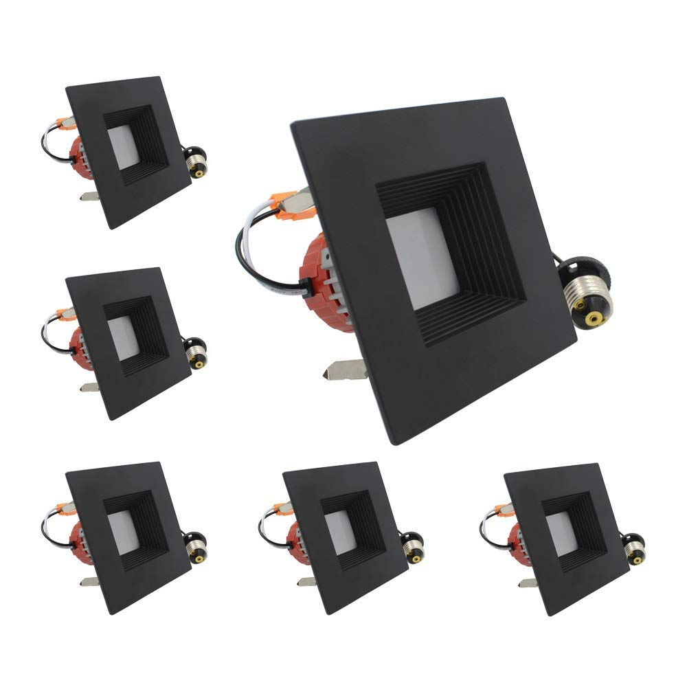 ESD Tech 6 Pack of 4'' Inch LED Dimmable Recessed Downlight Trim, Black Square Baffle Retrofit, 4000K, 650 Lm, 9W, 120V, Energy Star, ETL Listed, Indoor/Outdoor Rated