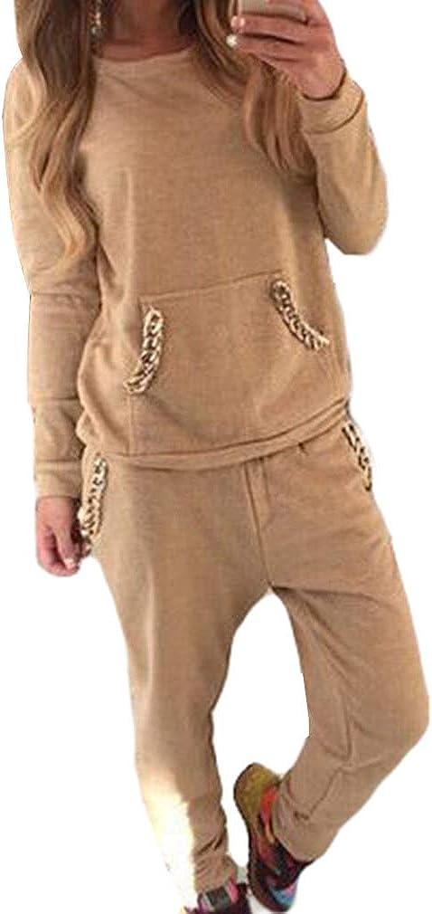 hibote Chándal Mujeres Traje Suave Cómoda Manga Larga Pullover + Pantalones Modernos Trajes de Yoga Aptitud 2 Piezas Ropa Deportiva Sudadera Pantalones