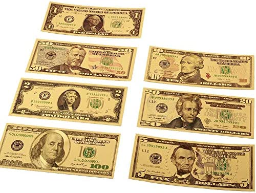 CHENTAOCS 7PCS 100/50/20/10/5/2/1ドルフェイクマネープロップマネー米国紙幣手形銀行注24Kゴール