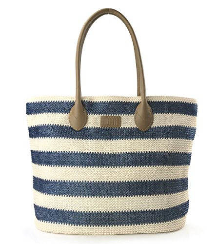 (Striped Synthetic Straw Womens Tote Light Weight Vaction Shoulder Handbag (Navy))