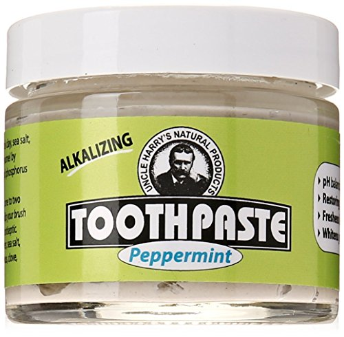 Uncle Harrys Fluoride Free Toothpaste   Peppermint  3 Oz Glass Jar