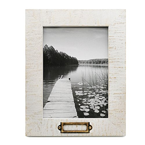 White Photo Plaque - icheesday 5x7 inch Picture Frame Handmade of Solid Wood for Table Top Display and Wall Mounting Photo Frame with Metal Tag Plaque,White