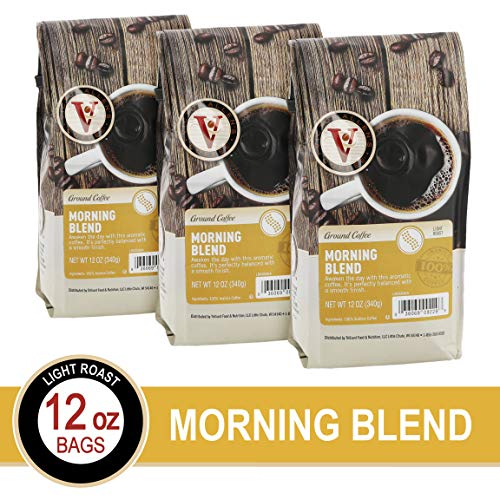 Morning Blend Ground Coffee, 12 Oz Bags, Victor Allen Light Roast Coffee (Pack Of 3)
