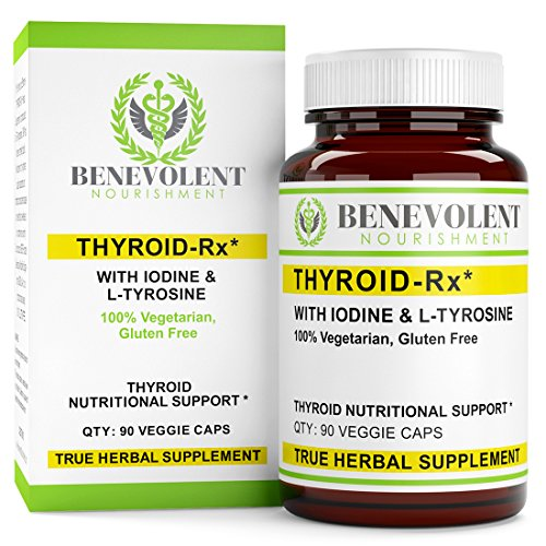 Thyroid Support Supplement - Complete with Iodine, L-Tyrosine, Vitamin B5 & Piperine to Get Maximum Benefits. 100% Vegetarian and Gluten Free 90 Veggie Caps