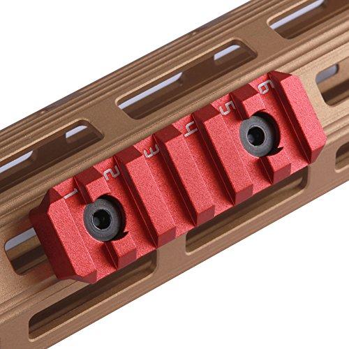 TuFok M lok Picatinny Rail Section - M-lok Rail, M lok Picatinny Rail Alluminum(6-Slot,Red)