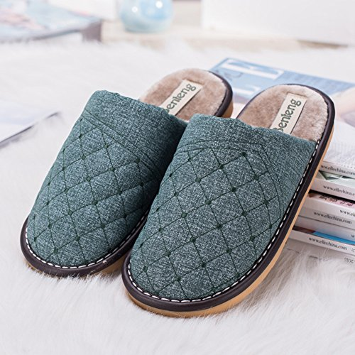 Slip Slipper House Foam Indoor Women's Slippers Plush on Gridding Cyan Clog Soft Lining Liveinu Memory SX7qOwp