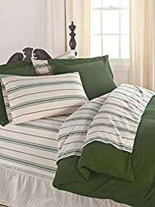 The Vermont Country Store Home 6 oz. Flannel Sheet Set From Portugal Twin Dark Green