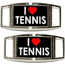 I Love Heart Tennis Shoe Sneaker Shoelace Charm Rectangular Decoration - Set of 2