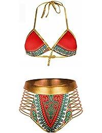 Women Tribal Print Bikini African Metallic Swimsuit Two Piece Beachwear Cutout Halter Neck Bathing Suit Swimwear