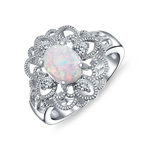 Large Oval Created White Opal Vintage Style Cubic Zirconia Ornate Filigree Flower CZ 925 Sterling Silver Ring (Ring Created Opal Silver Flower)