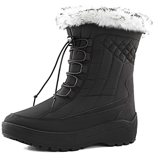 DailyShoes Woman's Ankle High locked Lace Up Warm Fur Water Resistant Eskimo Snow Boots, 8 (Eskimo Outfit)