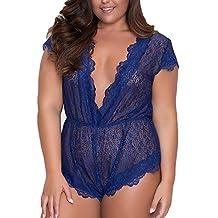 WYTong Women Plus Size Lace Lingerie Ladies Short Sleeve V-Neck Teddy Babydoll Mini Bodysuit(Blue,3XL)