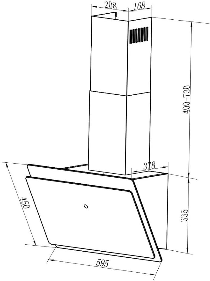 EEK: A+ VLANO Wandhaube MIRA 600 WH LED Umluft Aktivkohlefilter AKF-010