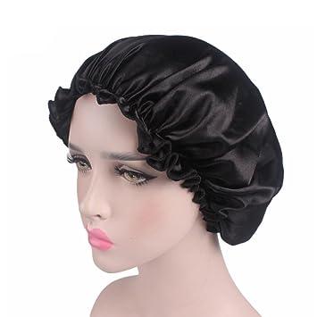 Amazon.com   SUJING Soft Satin Sleeping Cap Salon Bonnet Hair Headwear  Sleep Bonnet Hair Styling Hat Night Cap (Black)   Beauty 1b9f6f58881