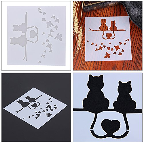 Whitelotous Fondant Cake Side Decorating Stencil Template Buttercream Spray Mould DIY Decor (Two Cats)
