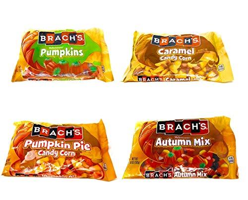 Brachs Candy Corn Bulk Variety Pack of 4 Bags - 36 oz Total - Pumpkin Pie Candy Corn, Mellowcreme Autumn Mix, Mellowcreme Pumpkins, & Caramel Candy Corn
