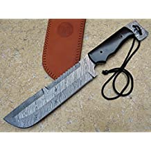 "Knife King ""Punisher"" damascus hunting bowie knife. Micarta handle.Razor sharp. Solid quality hunter.Comes with a sheath."