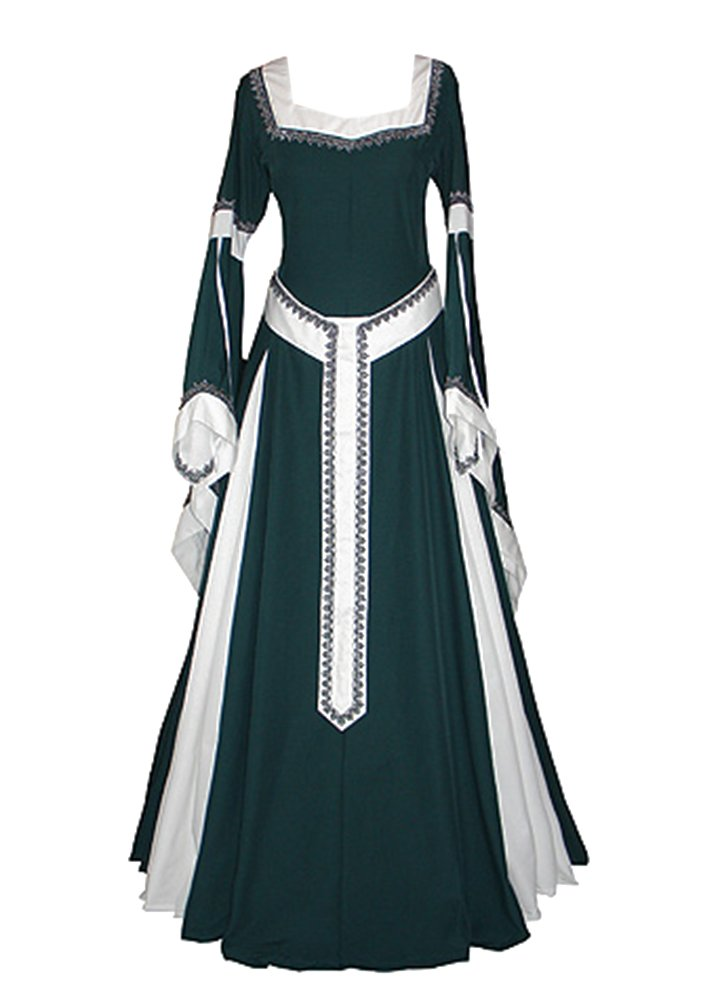 NiuBia Womens Deluxe Medieval Renaissance Costumes Dress Victorian Irish Over Long Dress Cosplay Retro Gown