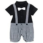 A&J Design Infant Baby Boys' Bow tie Gentleman Romper Overall Jumpsuit (6-9 Months, Black)