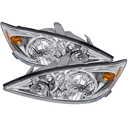 CARPARTSINNOVATE Fit 02-04 Toyota Camry LE XLE SE Clear Headlights+Amber Corner Lamps Left+Right ()