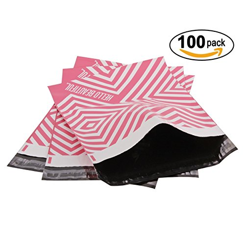 Extra Thick Pink Poly Mailer Bags - 100 Pack 10x13 LLR Supplies, Pink, Envelope Mailers with Adhesive Strip - Water and Weather Resistant Envelope Bags (10x13 100 Pack) (Pink/White)