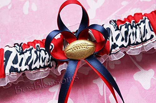 - Customizable - New England Patriots throwback fabric handmade into bridal prom white organza wedding garter with football charm