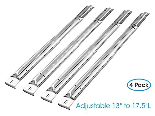 """UNICOOK (4 Pack Universal Adjustable Stainless Steel Tube Burner Replacement, Extend from 13"""" to 17.5"""