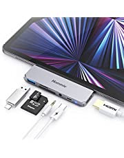"""USB C Hub for iPad Pro 2021 2020 2018, Hommie 6 in 1 Type-C Adapter with 4K HDMI, PD Charging, USB 3.0, 3.5mm Headphone Jack and SD/TF Card Reader for iPad Pro 11""""/12.9"""" 2020 2018, Space Gray"""